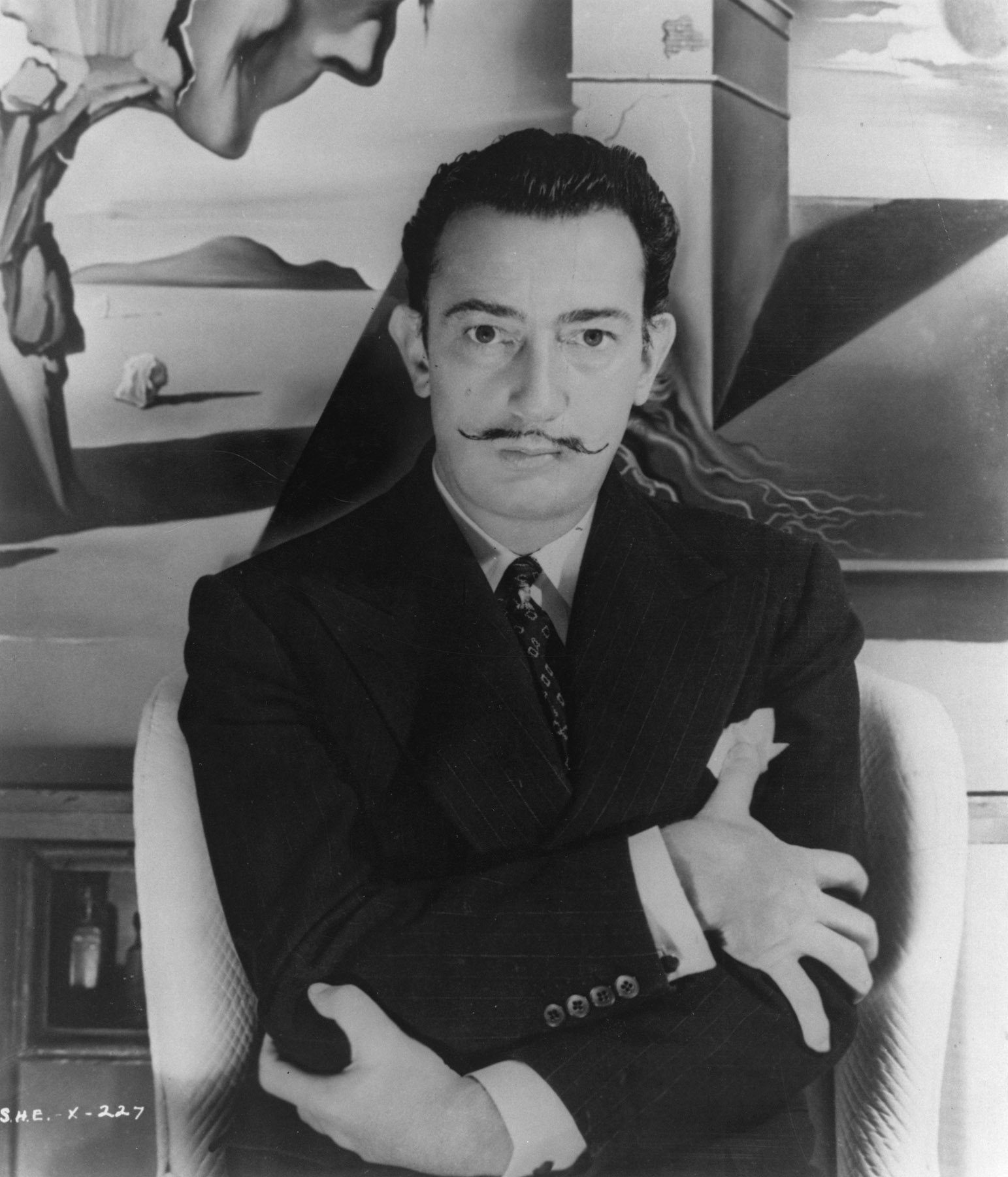 Dali on the set of the film 'Spellbound'