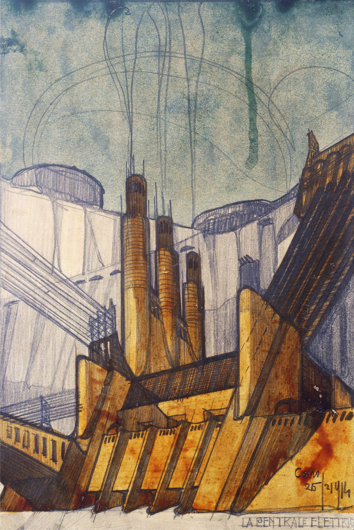 Power Plant, 1914, by Antonio Sant'Elia (1888-1916), study in black, green and red ink and black pencil