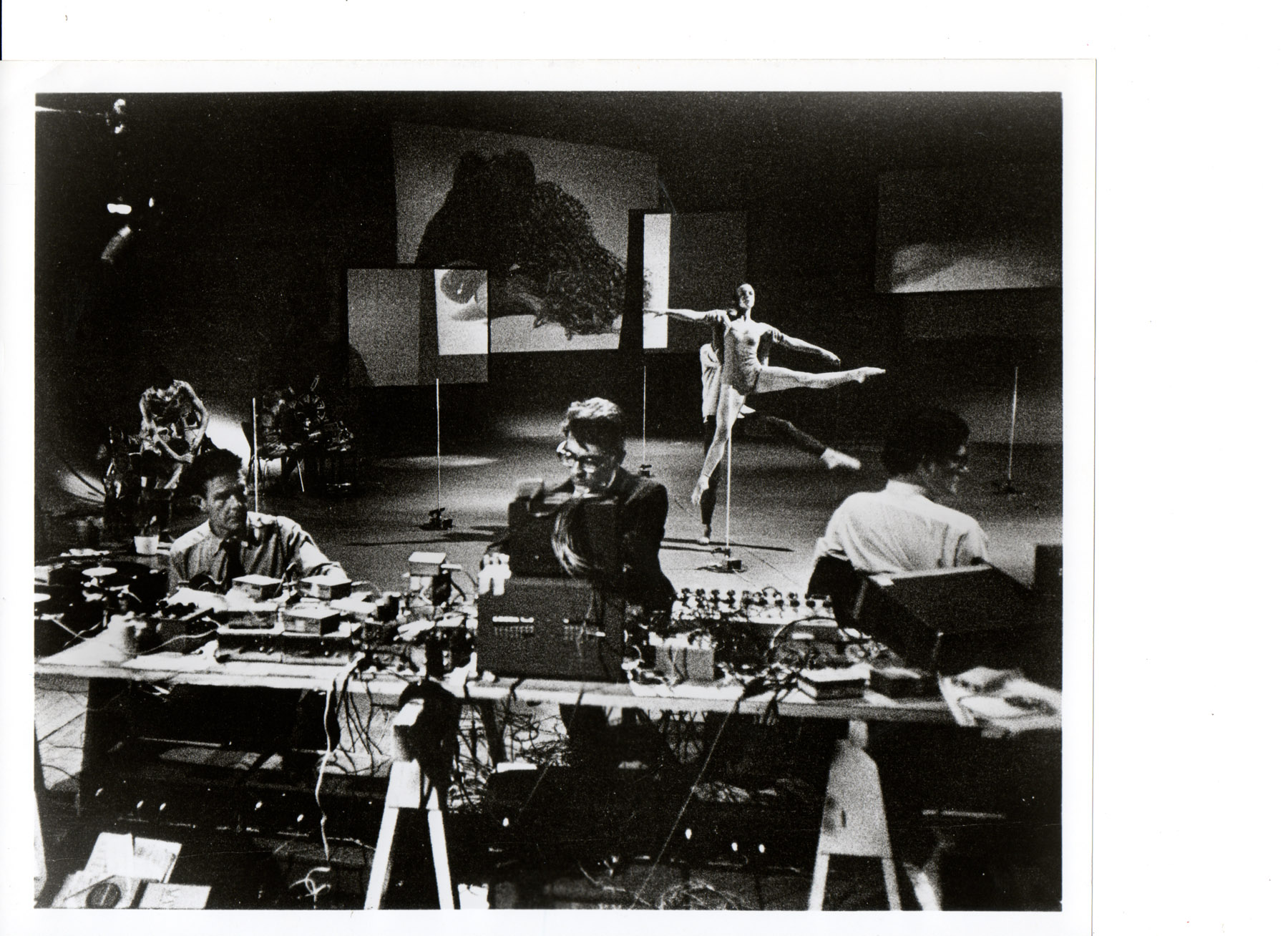 Variations V (1965). Musicians John Cage (left), David Tudor and Gordon Mumma; dancers Carolun Brown, Merce Cuningham and Barbara Dilley.